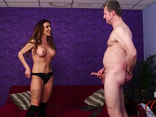 Scarlett Rose plays in all directions their way shaved cunt while a man is wanking off