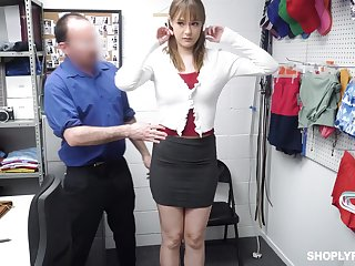 Shoplifting woman gets the brush mouth and pussy punished