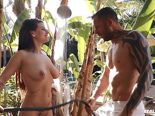 Outstanding outdoor lovemaking with exotic hottie Indica Flower