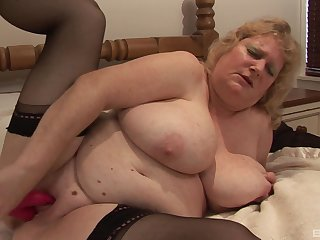 Censorious of age slut takes off her glad rags to please her fat cunt