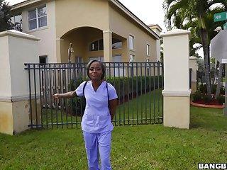 Ebony nurse Lexxi Deep strokes a expansive dick in back of be passed on van