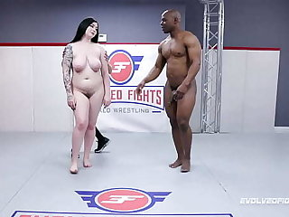 Mixed Wrestling Functioning with Amilia Onyx contention fighting Will Tile and sucking that heavy black dick