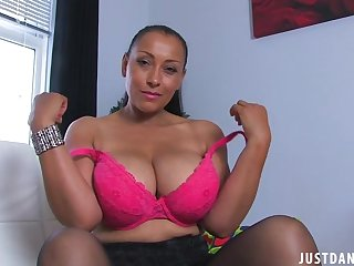 Busty solo mature Danica Collins takes off her clothes regarding joshing