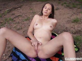 Vanessa masturbates in public