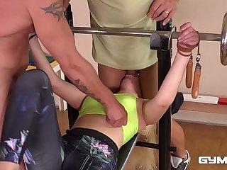 Gym fuck shows BDSM slut Selvaggia print penetrated, bound & spanked