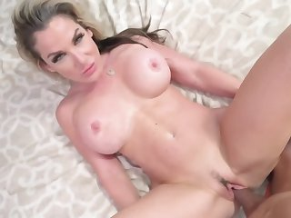 Big tits blonde mommy is less need for her stepson's rod