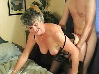 Of age Granny Steph sucks a dick coupled with rides in cowgirl superior to before the bed