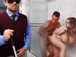 Busty light-complexioned cheats on her blind hubby fucking a delivery-man