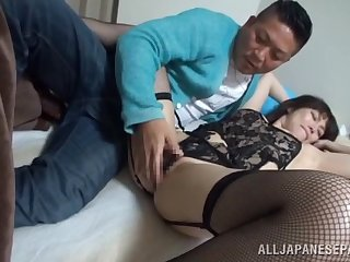 Passionate mature endures large Asian weasel words in both holes