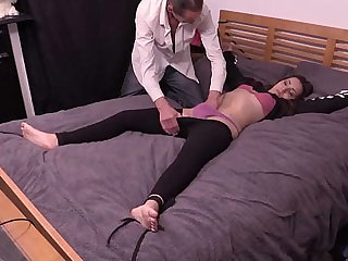 Petite Latitudinarian Bound To The Bed, Has Clothes Cut Missing and Gets Fucked Hard By Older Guy With Big Cock