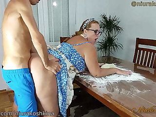 Pregnant In work Mom Gets A Fuck Detach from Her Son Right In Her Cookhouse  - MILF NiuraKoshkina