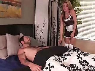 Slutty maid jacks off her boss