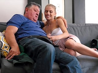 Younger Bonnie Dolce enjoys while an older dude is licking her feet