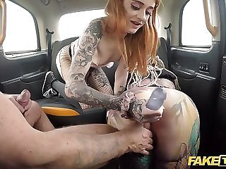 Naughty damsels are having a ugly three showing with a cab driver, on the connected with seat