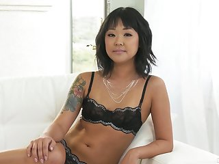 Small tittied Korean porn engrave Saya Song gives an interview