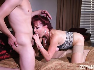 Mommy wants the son's sperm aloft her fat tits after she fucks permanent