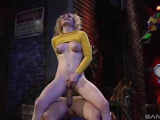 Young peaches rides the huge dick in insane manners