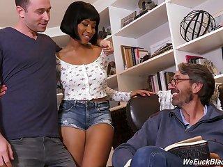 Stepson and stepdad fianc� ebony chick Jenna Foxx and cum on her black boobs