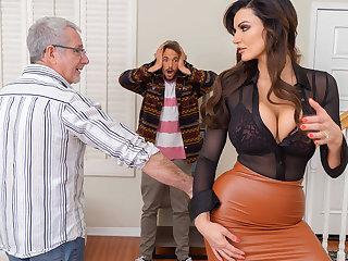 Depraved sex and massage huge tits of stepson