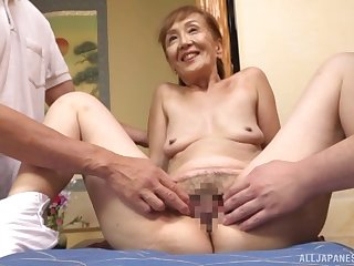 A remarkable triune Japanese dissemble with a sexy granny