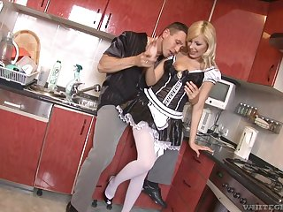 Kinky blonde GF Donna Bell surprises her lover with caboose sex