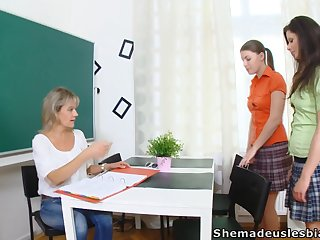 Strict teacher Irene and two naughty young chicks are ready at the last moment fingering