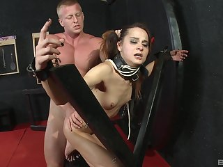 Sex following girl tied respecting and force facet fucked until she starts ready-mixed