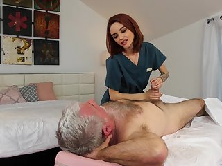 Wrinkly enjoys fucking red haired young masseuse Hanna Hayes