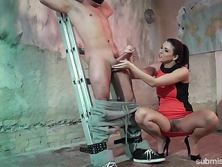 Mistress Corazon Del Angel tied up her husband with an increment of sucked his dick