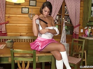 Home lone Anabelle spreads her legs to play with a long sex toy