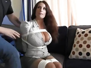 Buxomy housewife gets immensely crazy when she gets corded in all directions and left on the floor
