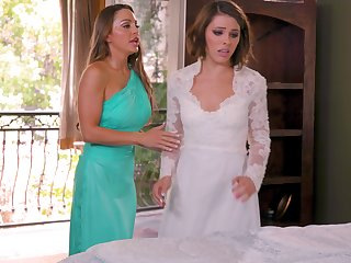 Hot women are having one last oral at the the wedding